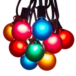 "Hometown Evolution Inc G50AS25 25 Foot Party String Light Set with (25) Assorted Color G50 Globe Bulbs with 12"" Socket Spacing"