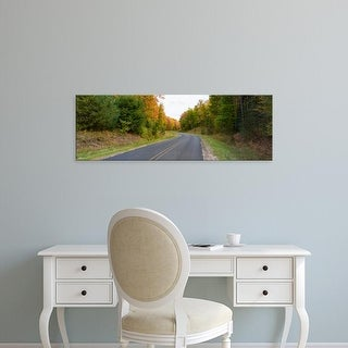 Easy Art Prints Panoramic Image 'Road passing through a forest, Alger County, Upper Peninsula, Michigan' Canvas Art