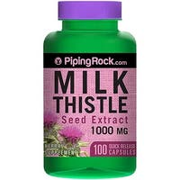 Piping Rock Milk Thistle Seed Extract 1000 mg 100 Quick Release Capsules Herbal Supplement - Purple - 100 caps