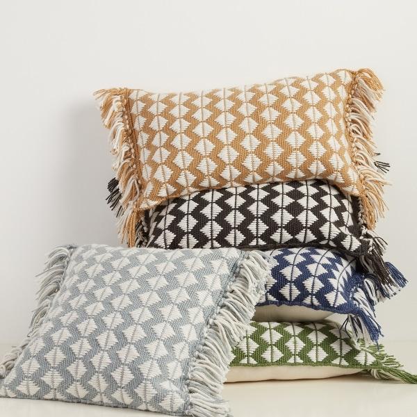 Cerulean Geometric Indoor/ Outdoor Lumbar Pillow. Opens flyout.