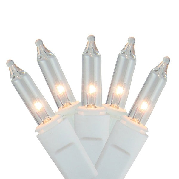 Set of 100 Clear White Mini Twinkling Icicle Christmas Lights - White Wire
