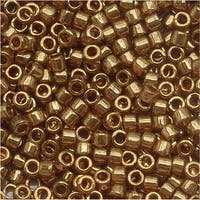 Miyuki Delica Seed Beads, 11/0 Size, 7.2 Grams, Transparent Metallic Rose Gold Luster DB115
