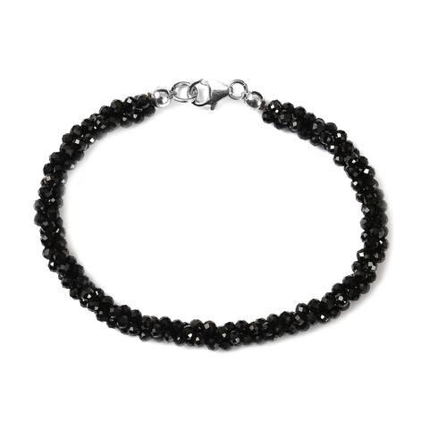 925 Silver Rhodium Over Black Spinel Bracelet Size 7.25 In Ct 37 - Bracelet 7.25''
