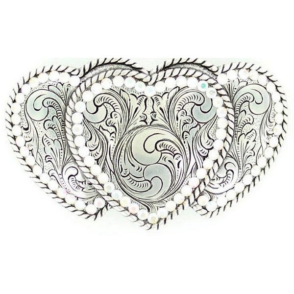 Nocona Western Belt Buckle Womens Triple Heart Silver - 2 1/2 x 4