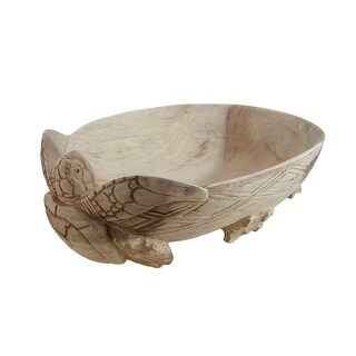Hand Carved Wooden Sea Turtle Centerpiece Bowl