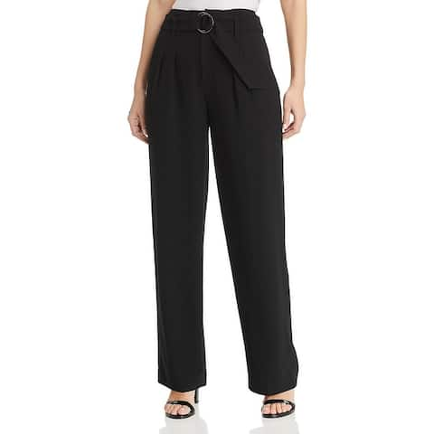 Elie Tahari Womens Plus Ezmarelda Dress Pants Wide Leg Business - Black