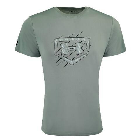 067629911 Under Armour Men's Heatgear Graphic Big Logo T-Shirt - Steel/Grey/Black