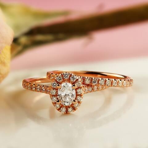 Auriya 14k Rose Gold 1ctw Halo Oval Diamond Engagement Ring Set