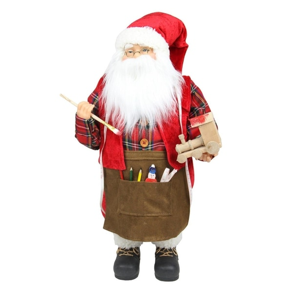 """24"""" Animated Santa Claus Painting a Toy Train Christmas Decoration - RED"""