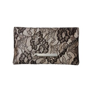 Jessica McClintock Womens Riley Clutch Handbag Satin Lace Overlay - Small
