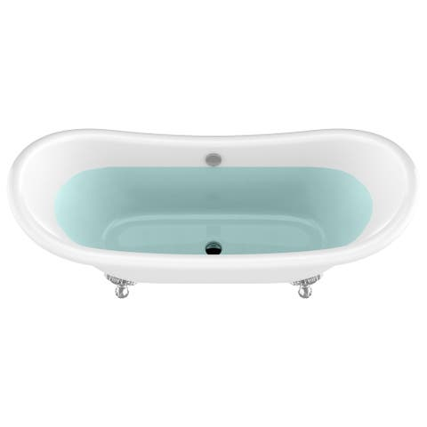 "Belissima 69.3"" White Acrylic Double Slipper Claw Foot Tub with Eagle's Talon Feet"