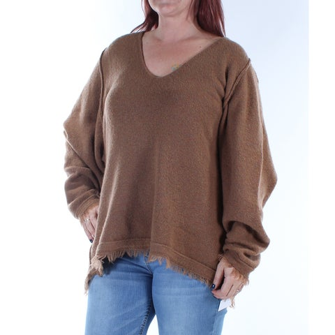 Womens Brown Sleeveless V Neck Casual Tunic Sweater Size S