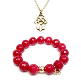 "Red Quartz 7"" Bracelet & Hamsa Hand Gold Charm Necklace Set"