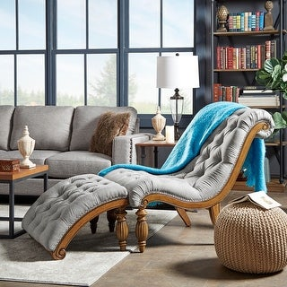 Link to Bellagio Classic Tufted Chaise Lounge with Ottoman by iNSPIRE Q Artisan - Chaise and Ottoman Similar Items in Living Room Chairs