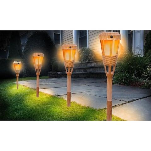 Solar LED Tiki Torch Light - Set of 2, 4 or 6