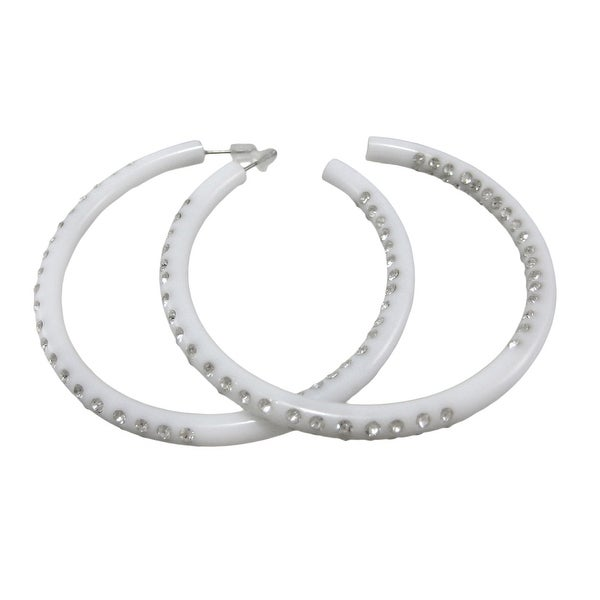 Rhinestone Encrusted Large White Hoop Earrings