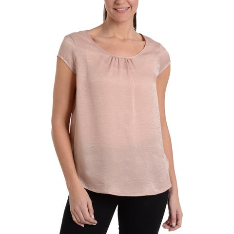 NY Collection Womens Blouse Gathered Scoop Neck
