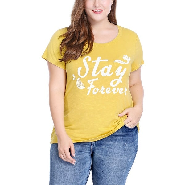 Women's Plus Size Scoop Neck Short Sleeves Letter Print Tee - Yellow
