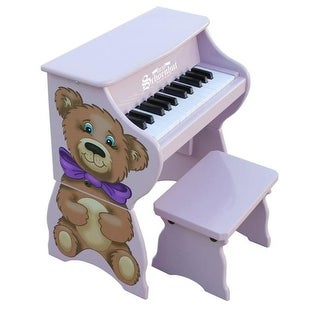 Lavender 25 Key Teddy Bear Piano with Bench