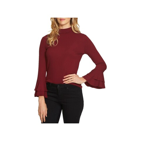 1.State Womens The Curator Mock Turtleneck Sweater Rufffled-Sleeve Ribbed Knit