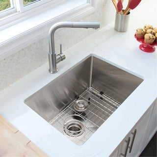 30 L X 18 W Stainless Steel Single Basin Undermount Kitchen Sink With Grid And Strainer Overstock 19976924