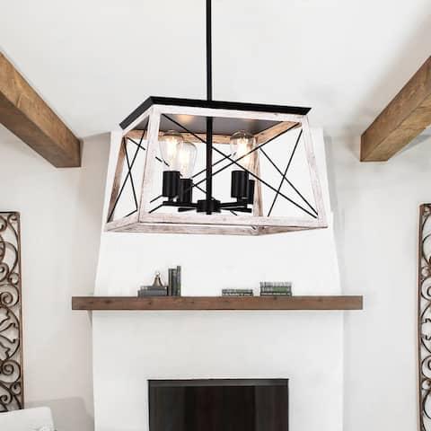 OYIPRO-Rustic Farmhouse 4 Light Lantern Square Chandelier
