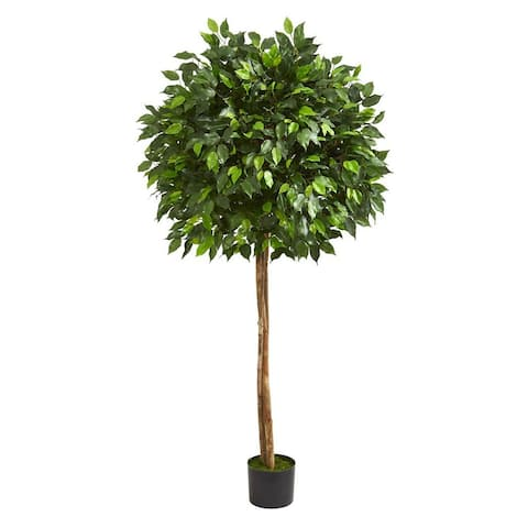 "Nearly Natural 5.5' Ficus Artificial Faux Tree, Dark Green - 18"" D - Not Available"