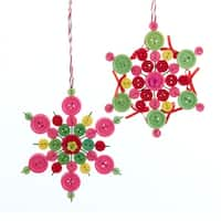 """Club Pack of 24 Whimsical Pastel Snowflake Design Button Christmas Ornaments 5"""" - PInk"""
