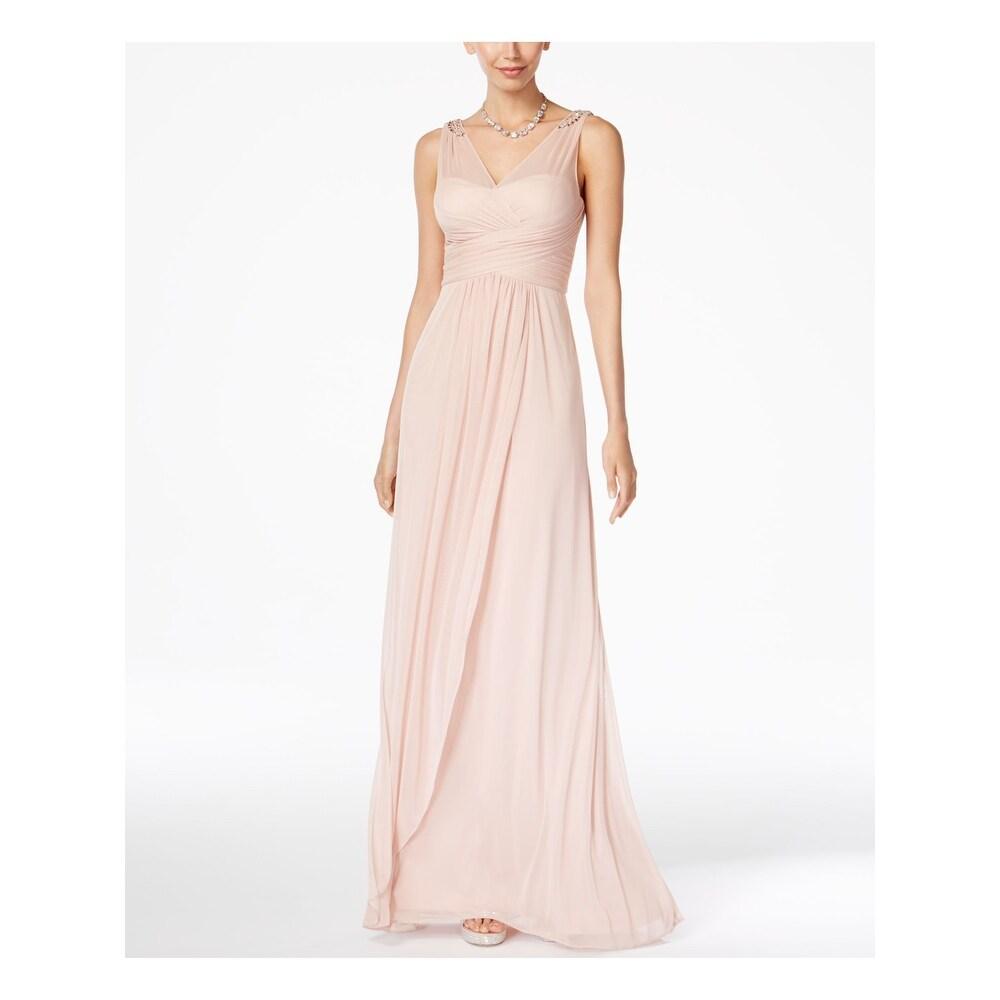 ADRIANNA PAPELL Pink Sleeveless Full-Length Sheath Dress Size 12