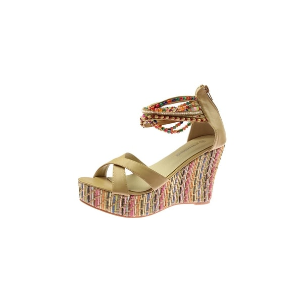 Getmorebeauty Womens Wedge Sandals Faux Leather Beaded
