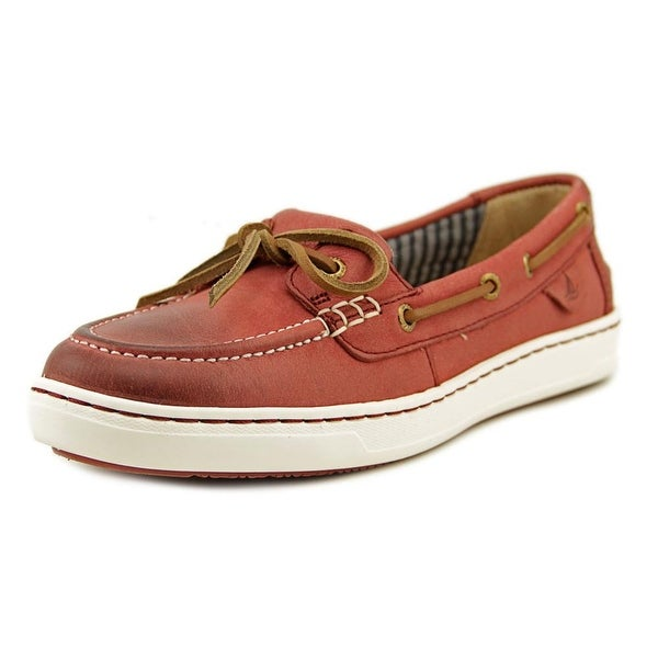 Sperry Top Sider Harbor Stroll Women  Moc Toe Leather Red Boat Shoe