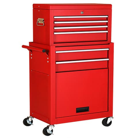 Gymax 2 in 1 Rolling Cabinet Storage Chest Box Garage Toolbox