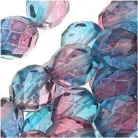 Czech Fire Polished Glass Beads 8mm Round Two Tone Teal/Fuchsia (25)