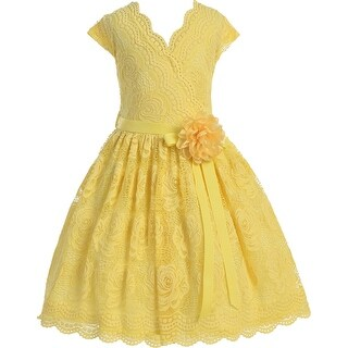 Flower Girl Dress Curly V-Neck Rose Embroidery AllOver Yellow JKS 2066 (5 options available)