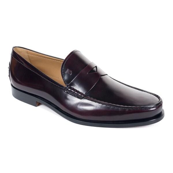 78e436767e5 Shop Tod s Mens Burgundy Boston Polished Leather Penny Loafers ...
