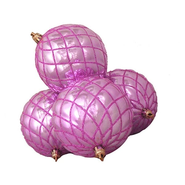 4ct Shiny Bubblegum Pink Diamond Shatterproof Christmas Ball Ornaments 3.75""