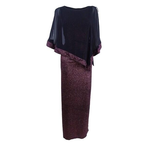 Msk Women's Metallic Chiffon-Overlay Column Gown