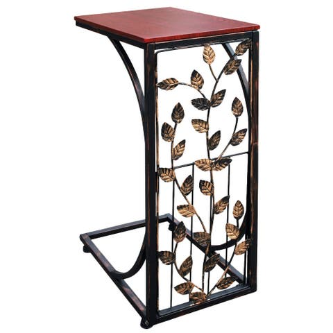 Etna Sofa Side End Table - Small Metal Leaf Design Base w/ Dark Brown Wood Look MDF Top - C-Shaped TV Tray Slides Up To Couch
