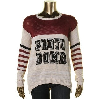 Pretty Rebellious Womens Juniors Photo Bomb Striped Ribbed Trim Pullover Sweater