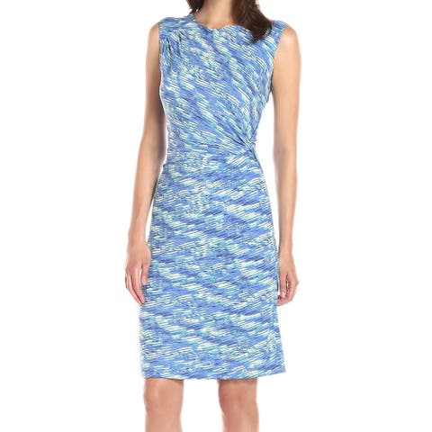 Nic+Zoe Blue Womens Size Large L Twist-Front Printed Sheath Dress