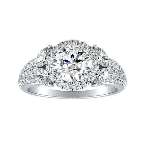 Auriya 14k Gold Floral Vintage 1 1/3ctw Round Halo Diamond Engagement Ring