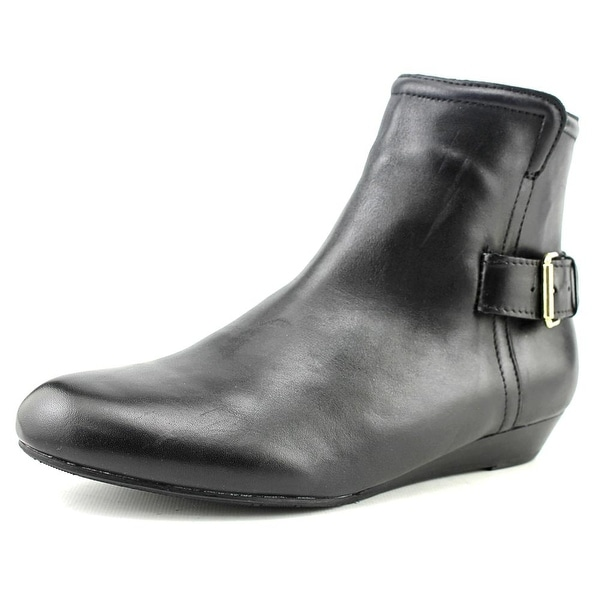 Array Love Women Round Toe Leather Black Ankle Boot