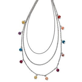 Chisel Stainless Steel Polished Multi Colored Agate 3-strand Necklace - 35 in