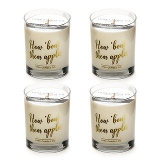 Strong Scented Apple Cinnamon Candle, Soy Wax, Long Burn (4 Pack)