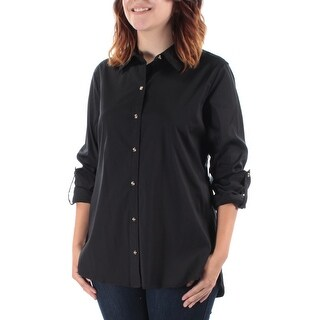 CHARTER CLUB $52 Womens New 1437 Black Collared Long Sleeve Button Up Top 4 B+B
