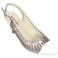Rialto Women's Martina Cap-Toe Slingback Pewter Metallic Calf Polyurethane