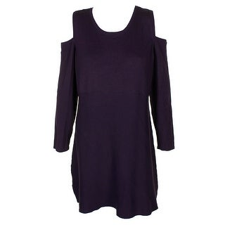 Style & Co Petite Dark Grape Cold-Shoulder Tunic Sweater PXL