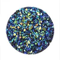 Dazzle It! Resin Sugar Stone Druzy, Round 22mm Sew-on Cabochons, 5 Pieces, Black with Blue Iris