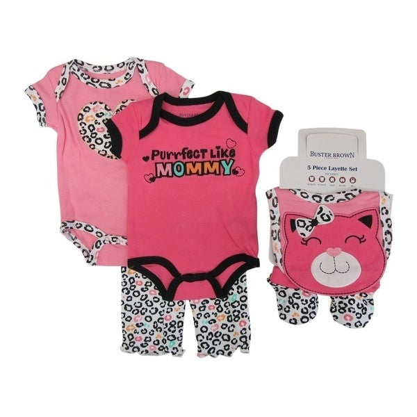 Buster Brown Baby Girls Pink Bodysuits Pant Bootie Bib 5 Pc Layette Set