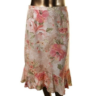 Alfred Dunner Womens Crepe Floral Print A-Line Skirt - 14